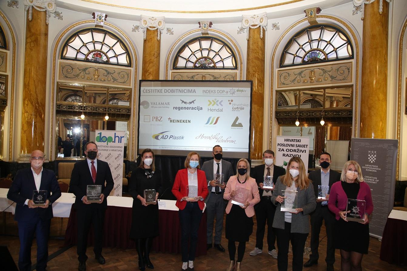 Na 12. konferenciji o društveno odgovornom poslovanju po 13. puta dodijeljene nagrade Indeks DOP-a Društveno odgovorno poslovanje u Hrvatskoj - Dop.hr