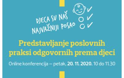 Online konferencija: Predstavljanje poslovnih praksi odgovornih prema djeci