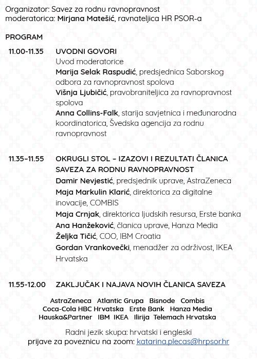 POZIVAMO VAS NA FORUM SAVEZA ZA RODNU RAVNOPRAVNOST Društveno odgovorno poslovanje u Hrvatskoj - Dop.hr